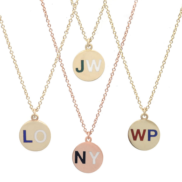 Custom Enamel Round Two Initial Necklace