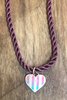 Ombre Enamel Striped Heart Charm
