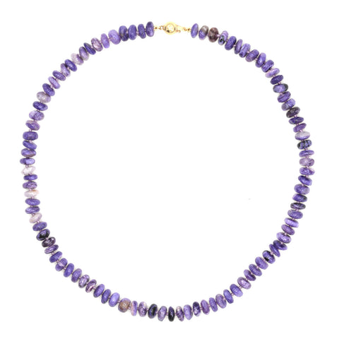 Beaded Smooth Charoite Necklace