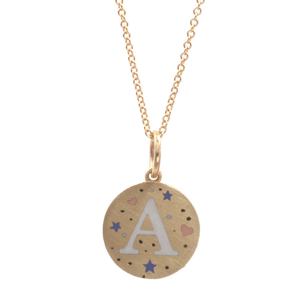 Custom Enamel Speckled Initials Necklace