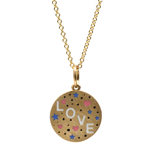 Enamel Speckled LOVE Necklace