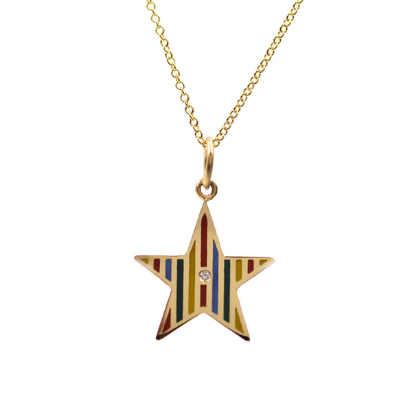 Enamel Striped Star Necklace
