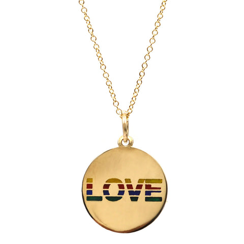 Striped Enamel LOVE Necklace