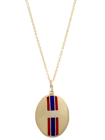 Custom Enamel Striped Initials Necklace