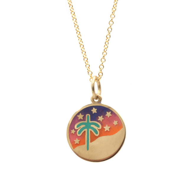 Enamel Palm Tree Tie Dye Night Sky Necklace
