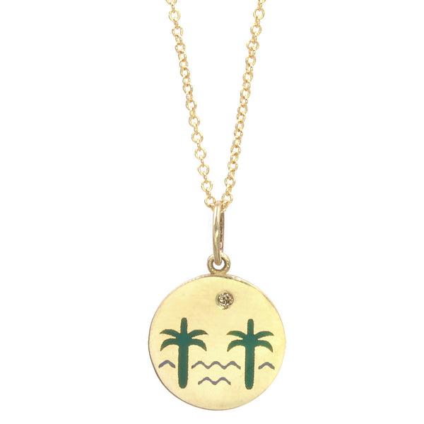 Enamel Venice Palms Necklace with Champage Diamond