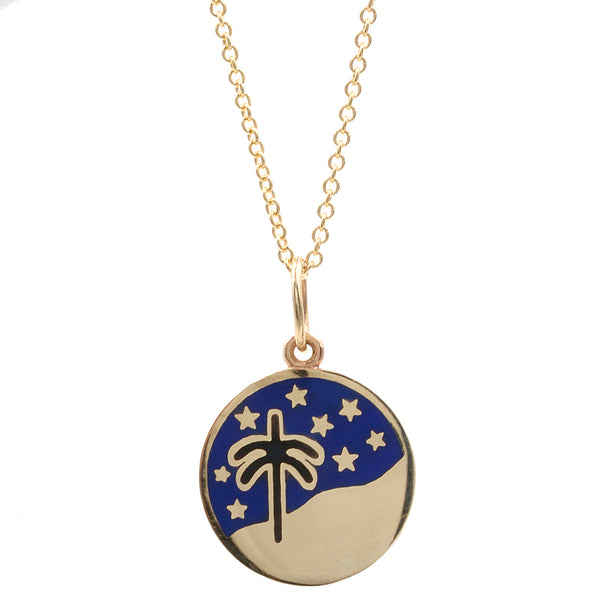Enamel Palm Tree Night Sky Necklace