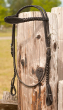 Braided headstall and reins are available in all black.