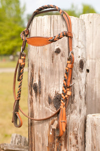 Braided headstall and reins are available in natural and black.