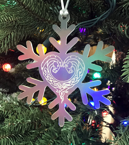 Frosted acrylic snowflake Christmas ornament with horse heart engraving.