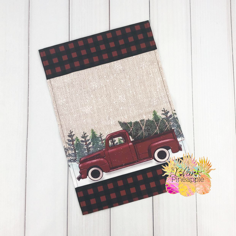 2020 Vintage Truck Garden Flag with Buffalo Plaid Trim