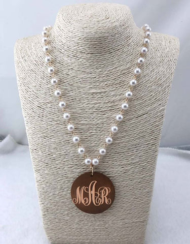 Pearl Necklace with Wood Disc