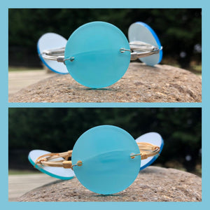 Wire Bangle with Aqua Opalescent Discs in Silver or Gold - CLEARANCE