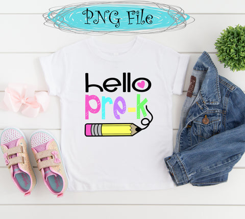Hello Pre-K Back to School Sublimation Design PNG 300 dpi