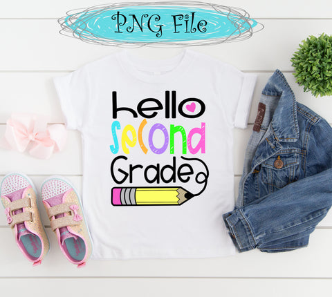 Hello Second Grade Back to School Sublimation Design