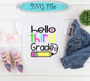 Hello Third Grade Back to School Sublimation Design