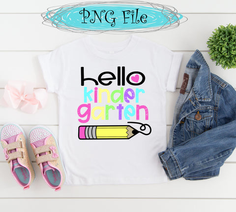 Hello Kindergarten Back to School Sublimation Design