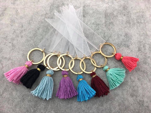 Acrylic Banner Key chain with Cotton Tassels