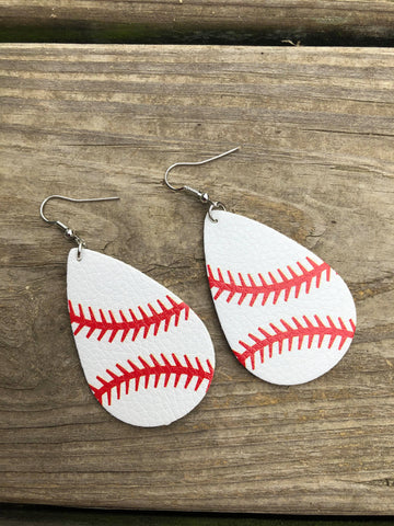 Faux Leather Baseball Teardrop Earrings
