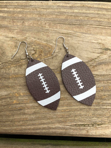 Faux Leather Football Earrings
