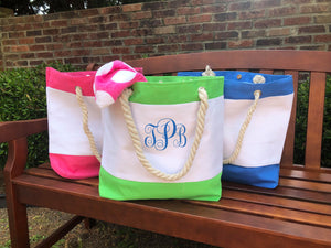 Canvas Beach Tote with Rope Handle