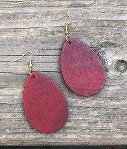 Blank Wood Teardrop Earrings