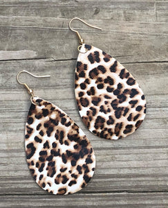 Faux Leather Teardrop Earrings - Animal Print