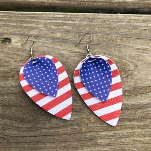 Faux Leather Double Layer US Flag Earrings