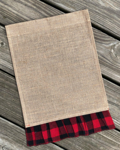 Burlap Garden Flag Blank with Red Buffalo Plaid Ruffle