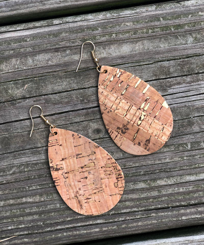 Faux Leather Teardrop Earrings - Cork
