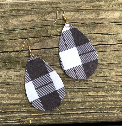 Faux Leather Teardrop Earrings - White Buffalo Plaid