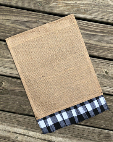 Burlap Garden Flag Blank with White Buffalo Plaid Ruffle