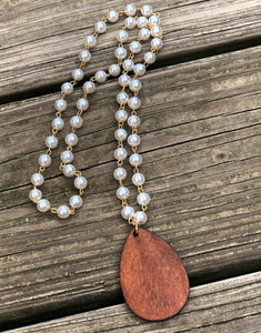 Rosary Pearl Necklace with Teardrop Wood Pendant