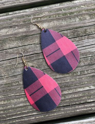 Faux Leather Teardrop Earrings - Red Buffalo Plaid