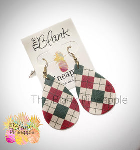 Leather Red and Green Argyle Teardrop Earrings