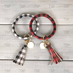 Buffalo Plaid Bangle Bracelet with Tassel and Key Ring