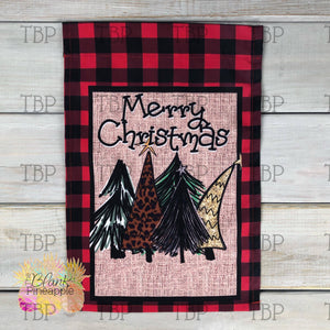 Christmas Trees and Buffalo Plaid Garden Flag