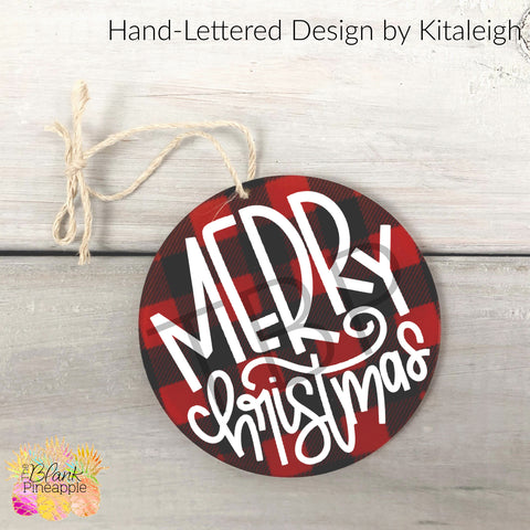 "3.5"" Round Red Buffalo Plaid Acrylic Ornament"