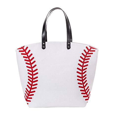 Canvas White Baseball Tote Bag
