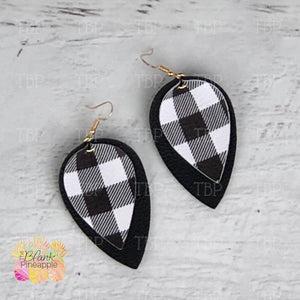 Buffalo Plaid Leaf Earrings