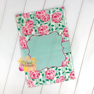 Pink Roses and Green Striped Garden Flag
