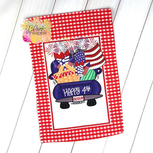 July 4th Vintage Truck Garden Flag