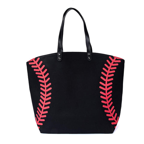 Black Baseball Canvas Tote Bag