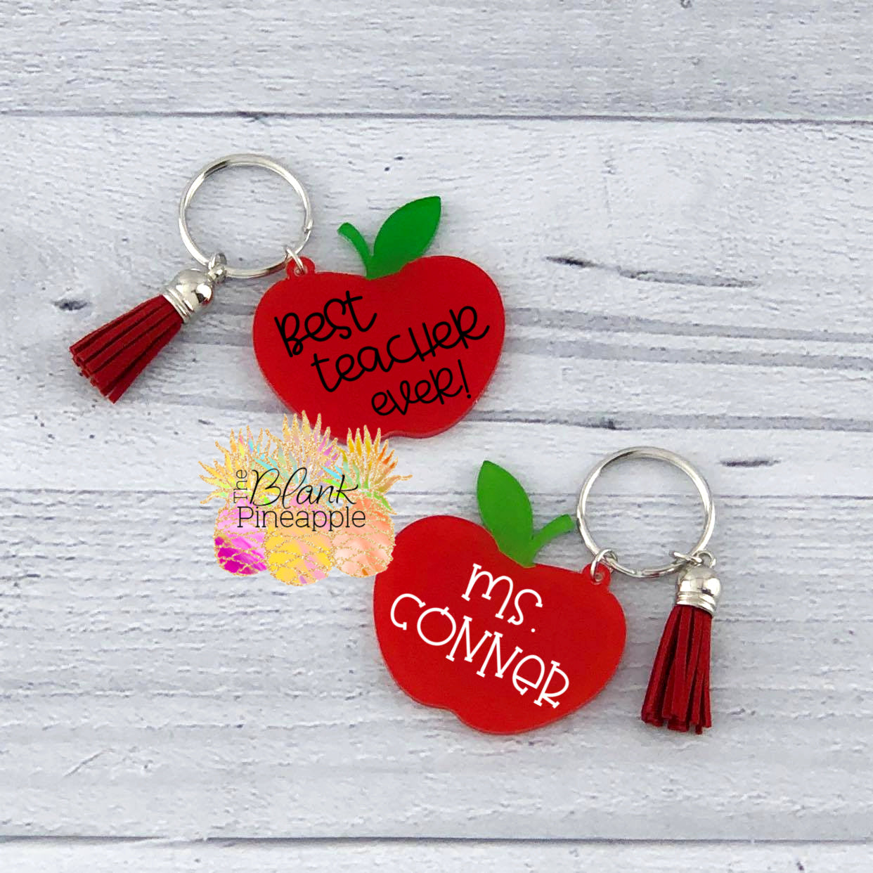Acrylic Apple Key Ring with Tassel