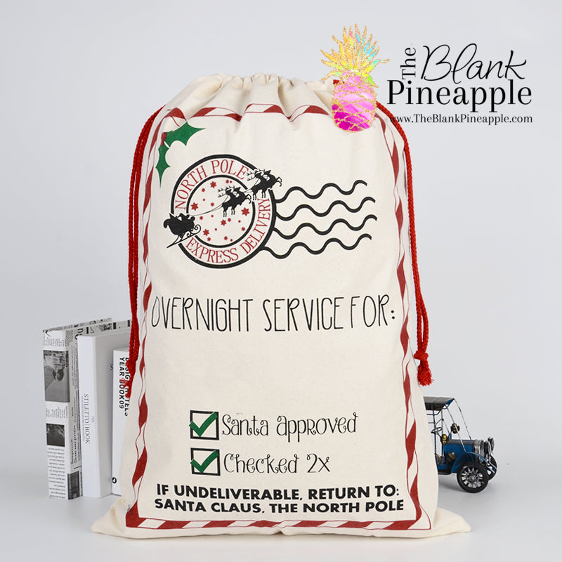 "Santa Sack - Red & White Striped frame ""Overnight Service"""