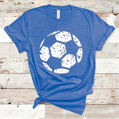 "11"" White Distressed Soccer Ball Screen Print Transfer - CLEARANCE"