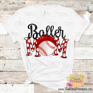 PNG - Baseball Baller Mom with Ball Cap Polka Dot Red