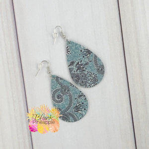 Paisley Faux Leather Earrings