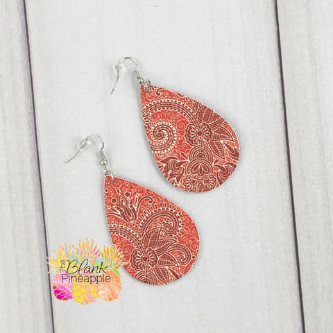 Red Paisley Faux Leather Teardrop Earrings