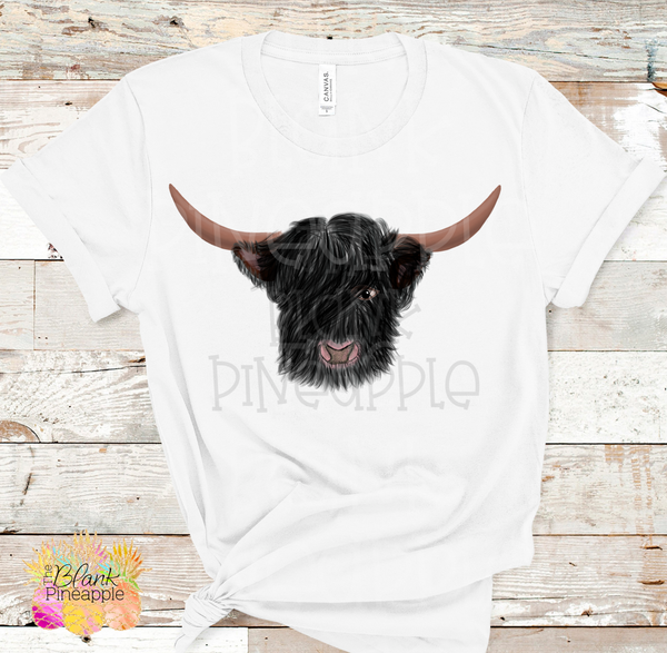 PNG - Black Hairy Highland Cow